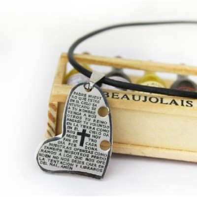 [Free Shipping] Bible text Cross scriptures peach heart titanium steel necklace