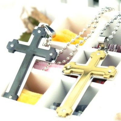 [Free Shipping] Korean jewelry hair accessories earrings double cross with diamond titanium steel necklace two colors