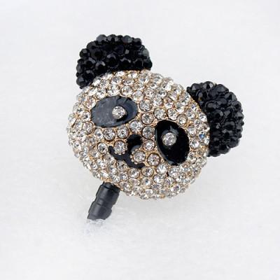 [Free Shipping] Fashion flash diamond red pandas dust plug / diamond