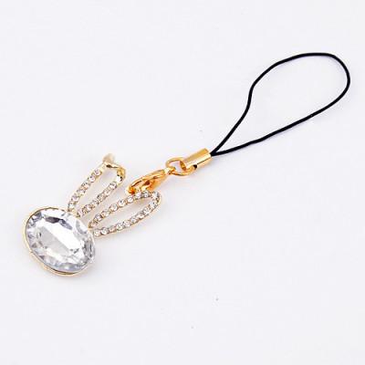 [Free Shipping] The Waner rabbit mobile phone pendant with fashion flash diamond
