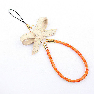 [Free Shipping] Colorful butterfly knot fashion phone chain (orange)