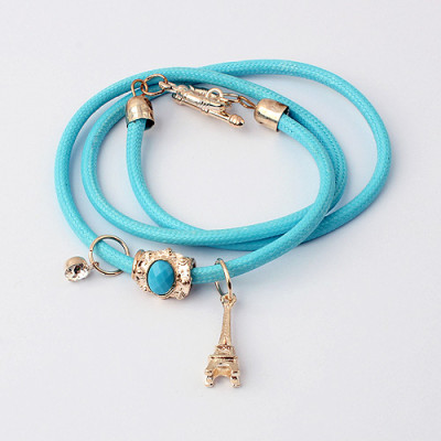 [Free Shipping] Simple and stylish multi-storey Eiffel Tower colorful bracelets and six-color