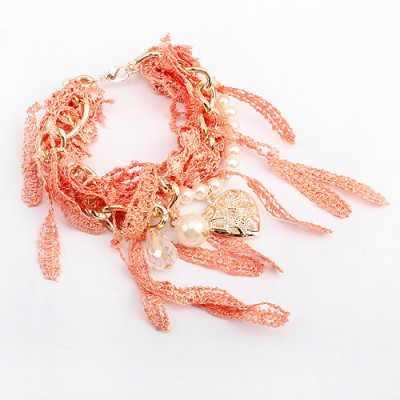 [Free Shipping]Fashion double-layer woven pearl love bracelet tri-color
