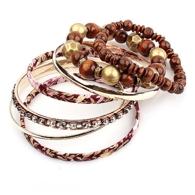 [Free Shipping] Fashion Rhinestones Multilayer Fabric Bracelet