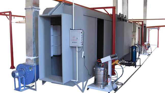 Powder coating spray booths china batch manual powder for Powder coating paint booth