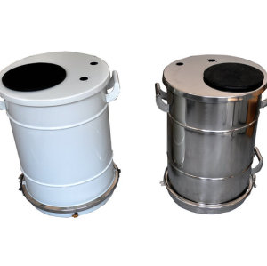 Powder coating barrel hopper