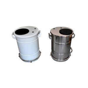 Powder coating barrel hopper