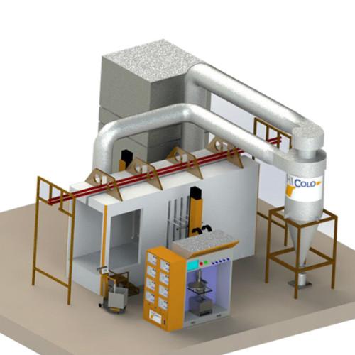 Nerezová ocel Automatické práškové lakování kabiny pro regeneraci cyklónu