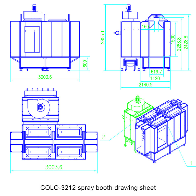 COLO-3212 spray booth drawing