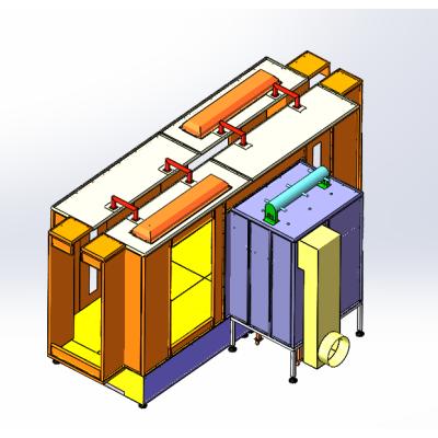 Práškové stříkací kabiny Semiauto jsou recyklovány filtrem