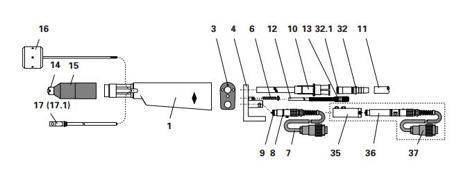 Пистолет-распылитель Соединение шланга завершено
