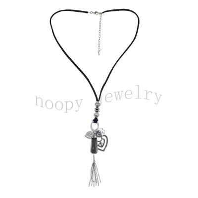 fashion black suedebrown stone tassels necklace