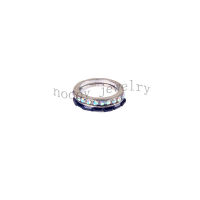 wholesale crystal AB and black stone wedding ring