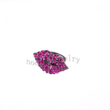 wholesale fuchsia stone red lip temptation finger ring