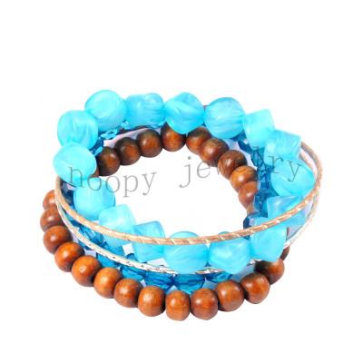 fashion blue acryl and wooden beads beaded bracelet