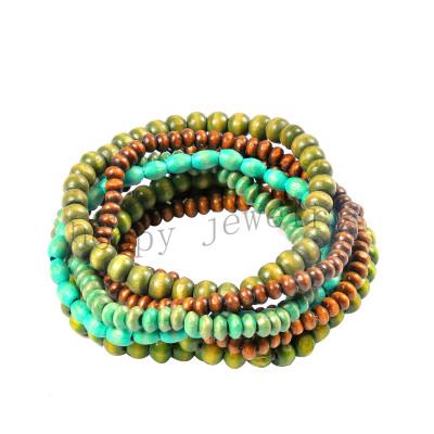 fashion wooden beads indian style beaded bracelet