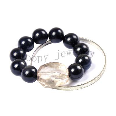 fashion black acryl beads beaded bracelet