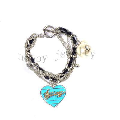 fashion pearl and black strap juicy couture bracelet