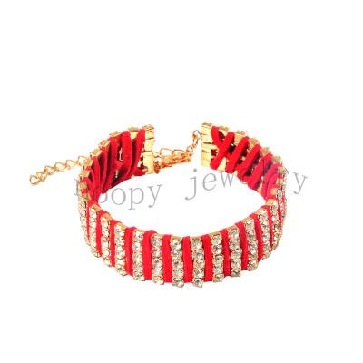 hot sale red strap handmade diamond bracelet