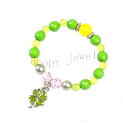 wholesale green and yellow clover beaded children's bracelet