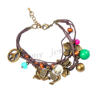 wholesale peace  symbol handmade knot bracelet