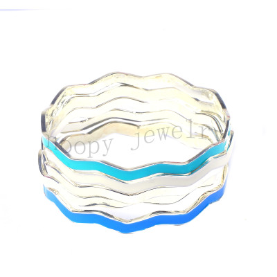 wholesale blue and turquoise epoxy 5 row bangle