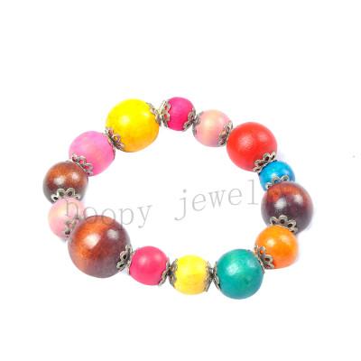 wholesale wooden beads beaded bracelet