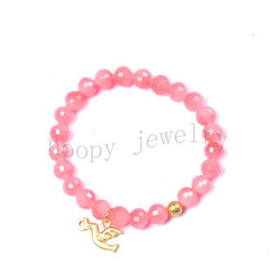 wholesale pink glass beads fly bird pendant beaded bracelet