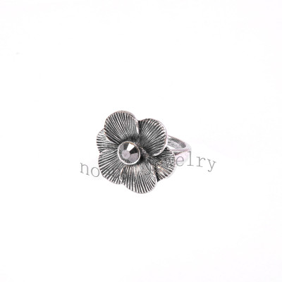 wholesale hematite stone big flower alloy finger ring