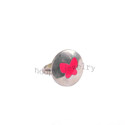 wholesale red butterfly epoxy simple alloy finger ring