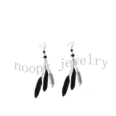 fashion black feather leaf alloy earring