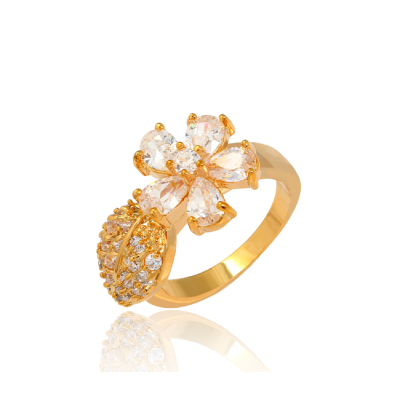 J1132 18k Gold Plated Jewelry Index Finger Ring Female Diamond