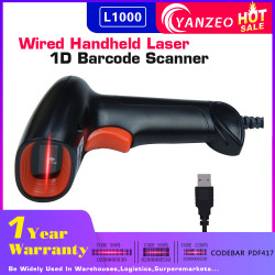 Yanzeo L1000 1D Barcode Scanner Portable USB Wired Handheld 2.4G Laser Light Scanner