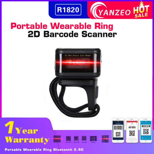 Wearable Ring Barcode Scanner| Yanzeo R1820| 2D Portable Wireless Barcode Reader Qr Code with Bluetooth 2.4G