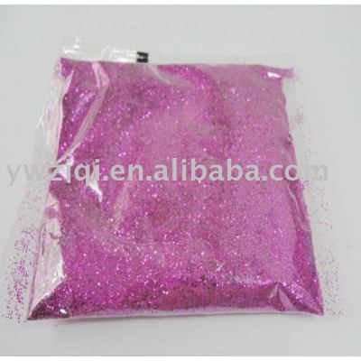 pink color PET glitter powder in small package