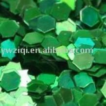 Holographic green hexagon glitter powder