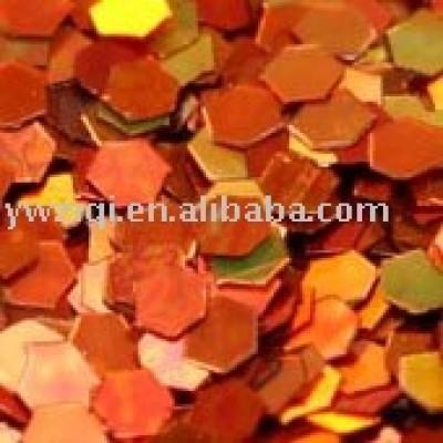 Red hologram hexagon glitter powder