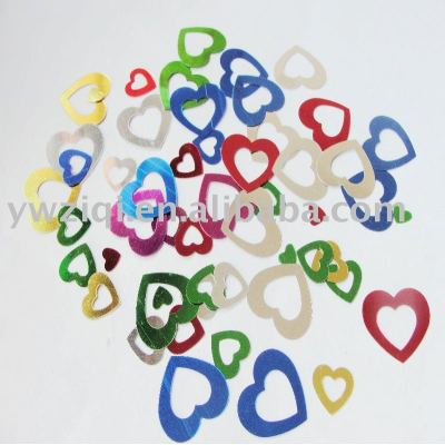 Metallic color heart shape PVC confetti for party decoration