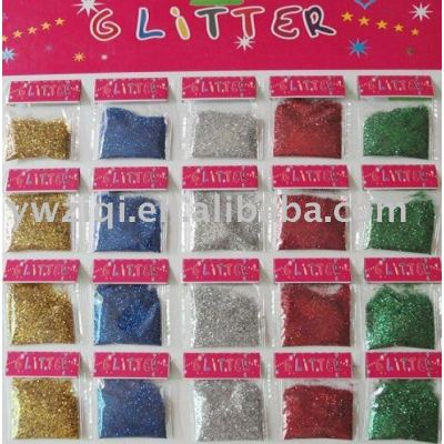 Fine toy glitter powder with blister card