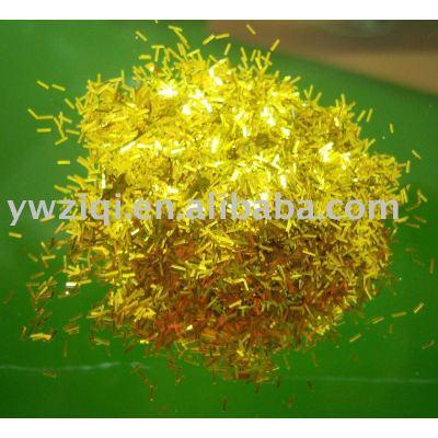 Gold color fine glitter powder fiber