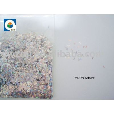 laser color moon shape glitter confetti for nail polish