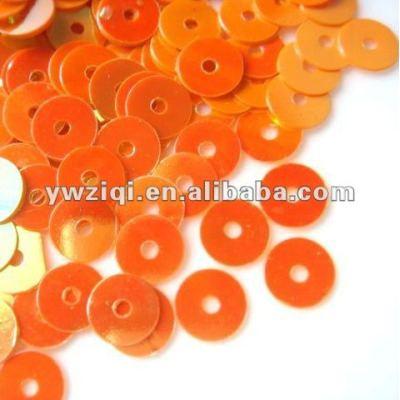 4mm round shape orange color PVC loose sequins for garments