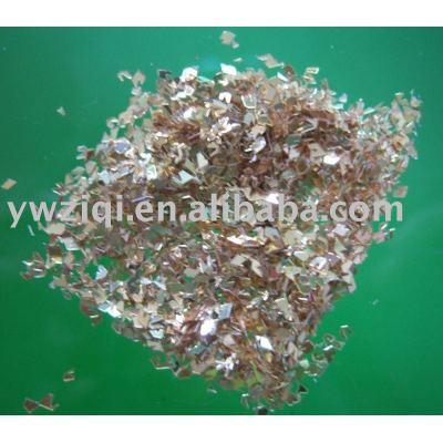 glitter golden glass fragment for crystal crafts