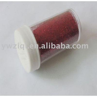 Red color hexagon PET glitter powder in shaker