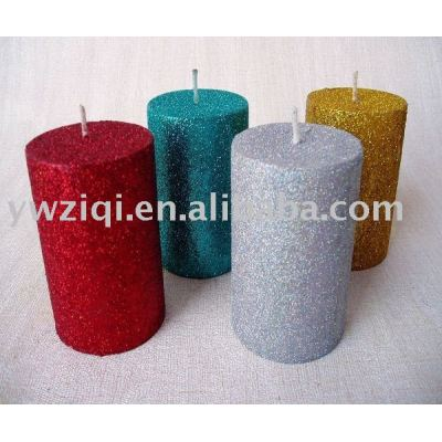 High temperature glitter powder spraying on Candle decoration