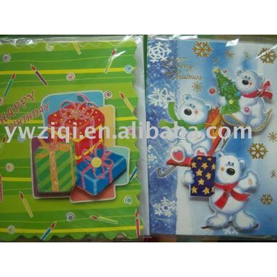 Glitter powder spraying on greeting cards