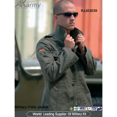 Khaki waterproof and fashion military jacket for outdoor