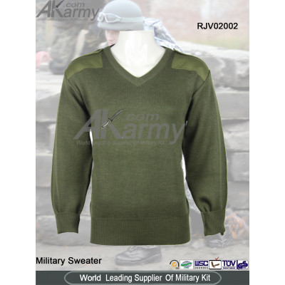 Wool Olive V-Neck Military Sweater/Pullover