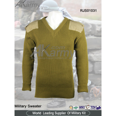 Wool Drab Green V-Neck Military Sweater/Pullover