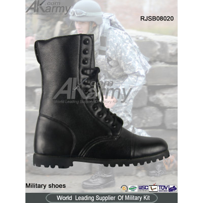 Black  Embossed Military Boots